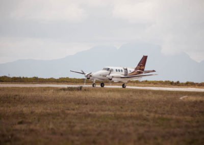 Skydive Mossel Bay's airplane sitting on runway before take off in Mossel Bay, South Africa
