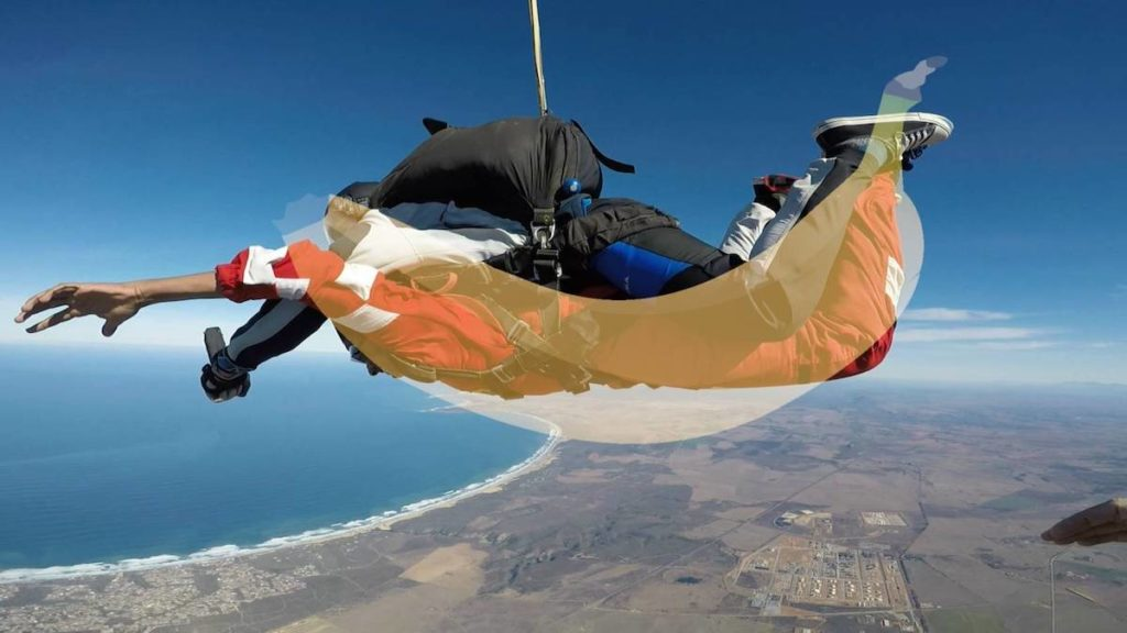 """A skydiving best practice is to """"Be a banana"""" to form the proper skydiving shape"""