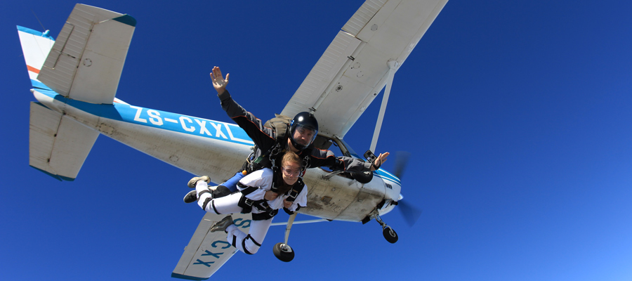Tandem skydiving for the first time at Skydive Mossel Bay in South Africa