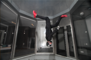Naomi Kotzee in a vertical wind tunnel - Photo by Max Haim