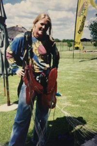 Professional skydiver Naomi Kotzee at 17 years old