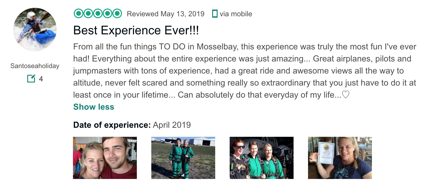 """""""Best Experience Ever"""" - Skydive Mossel Bay 5-Star Review from TripAdvisor"""
