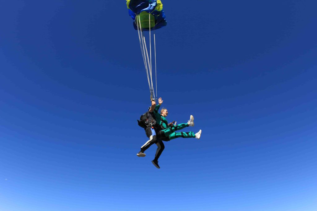 Parachute deploying in a tandem skydive at Skydive Mossel Bay on the Garden Route near Cape Town