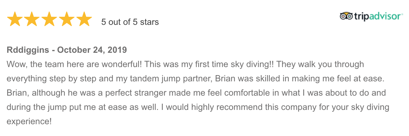 Skydive Mossel Bay 5-star review from TripAdvisor