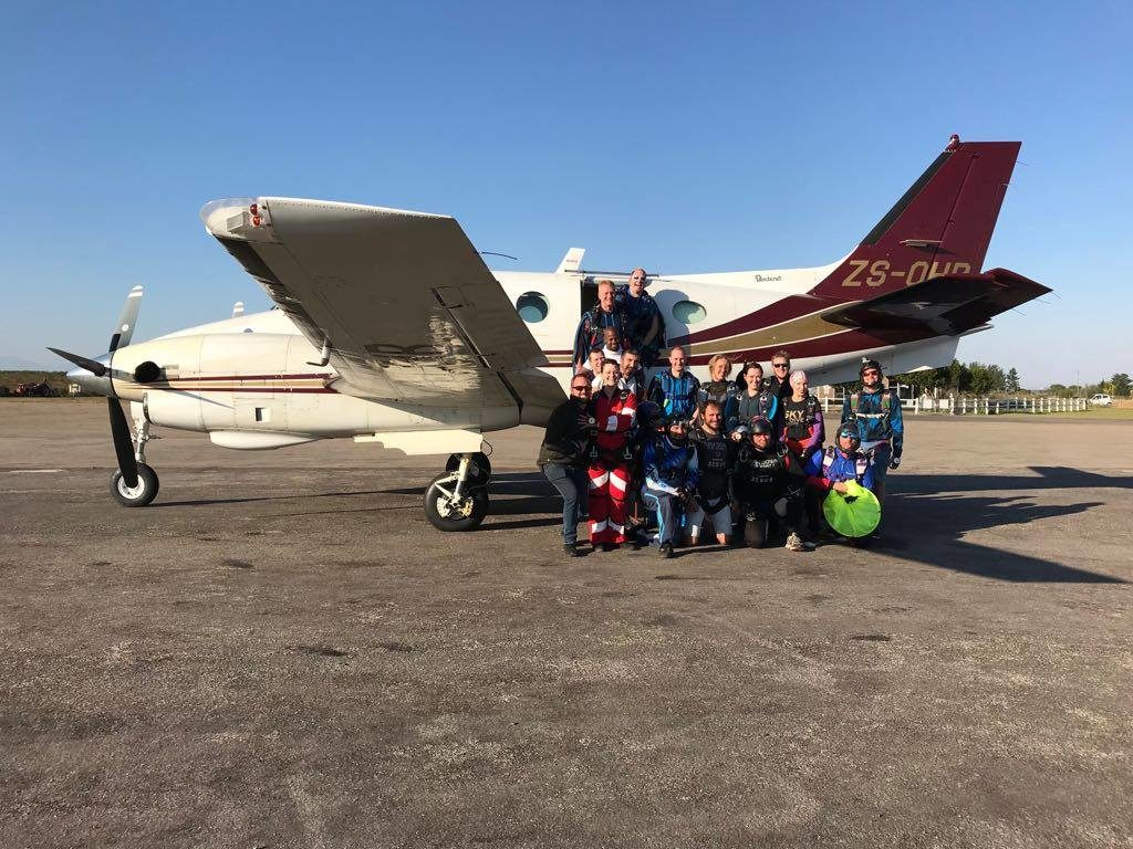 Group of skydivers in front of King Air in Mossel Bay South Africa near Cape Town