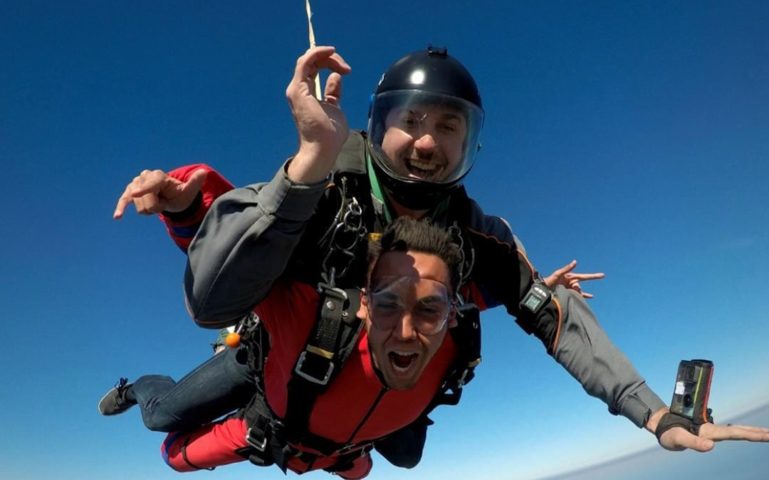 Tandem skydiving over Mossel Bay, South Africa outside of Cape Town