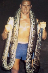 Corne Moolman with a huge snake