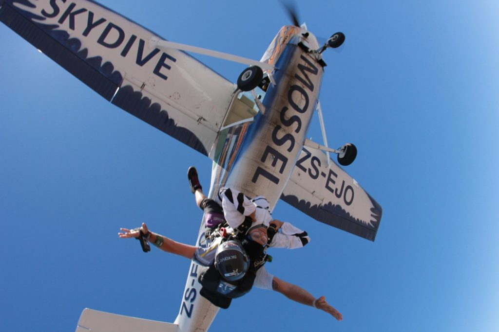 Tandem skydivers after just jumping out of a plane at Skydive Mossel Bay on the Garden Route near Cape Town