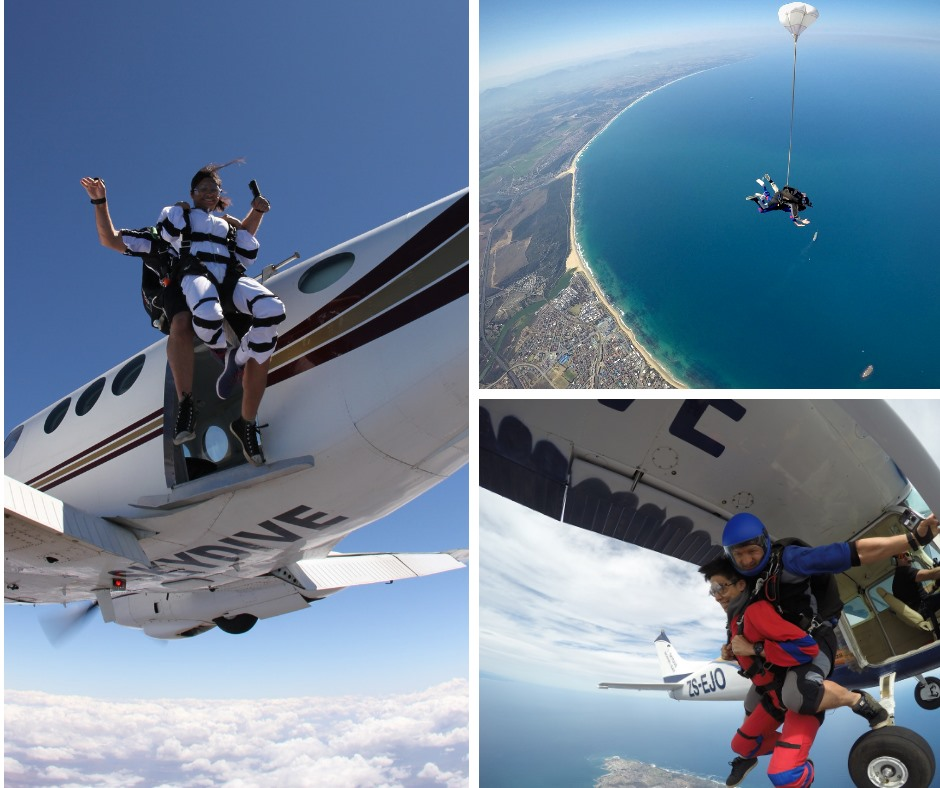 Tandem skydivers and the gorgeous coastal beach view of Mossel Bay on the Garden Route near Cape Town