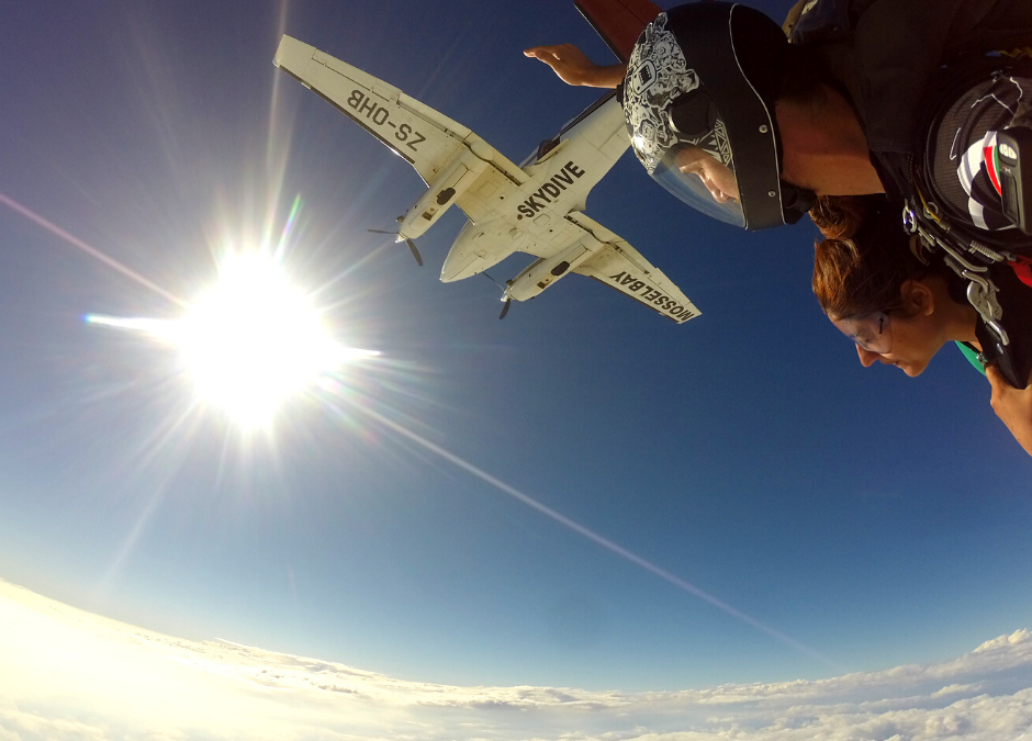 Our skydiving plane takes you above the clouds over Mossel Bay on the Garden Route near Cape Town