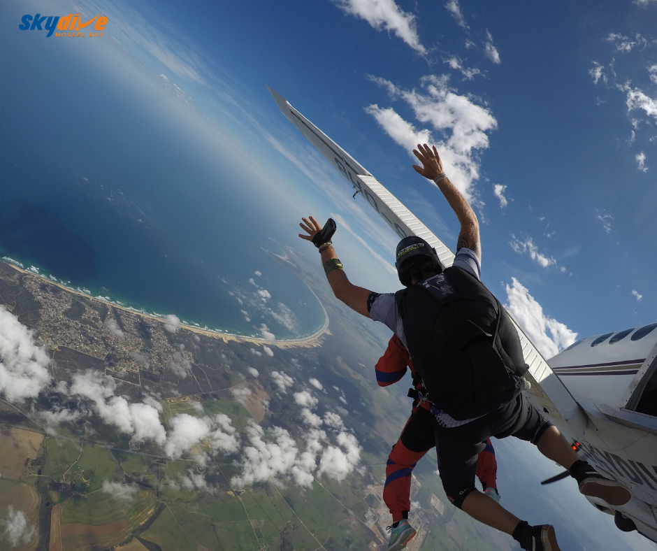 Safely tandem skydiving at one of most beautiful places in the world at Skydive Mossel Bay near Cape Town